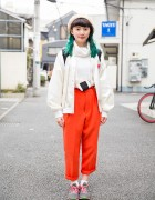 Harajuku Girl w/ Green Hair, Resale Fashion, Onigiri Pouch & New Balance Sneakers