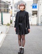 Pastel-Haired Harajuku Girl in WEGO Blazer, Pleather Skirt & H&M Ankle Boots
