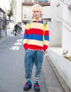 "Harajuku Guy in Resale Striped Sweater, Ambush ""POW!"" Necklace & Underground Creepers"