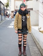 DIY Outfit w/ Torn Tights, Dr. Martens Boots, Vortex Sunglasses & Good Rockin Accessories