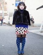 Harajuku Shironuri w/ Faux Fur, Pug Bag, Polka Dot Socks & Anna Sui Accessories