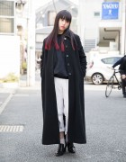 Harajuku Girl w/ Pink Dip Dye, Maxi Coat, White  & Heeled Loafers