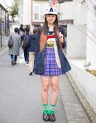 Aymmy in the Batty Girls Top, Bubbles Harajuku Plaid Skirt & American Flag Backpack