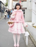 Pink Lolita Fashion in Harajuku w/ Angelic Pretty Heart Shaped Bag