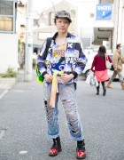 Safety Pins Hat, Comic Tee & Torn Jeans & Neon Backpack in Harajuku
