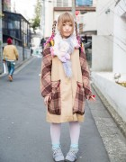 Harajuku Girl w/ Pink Twin Braids, Unicorn Muffler & Handmade Plaid Coat