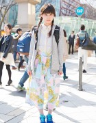 Twin Braids, Hoodie, Maxi Skirt & Champion Sneakers in Harajuku