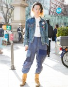 Qosmos Vintage Denim Outfit w/ Comme des Garcons in Harajuku