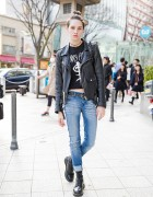 Sara Cummings in Harajuku w/ Biker Jacket, Jeans & Lace-up Boots