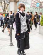 Harajuku Girl in Hyper Core Top, WEGO Plush Backpack & Kill Star Necklace