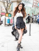 Harajuku Girl in High-Low Corset Dress, Floral Headpiece & Studded Boots