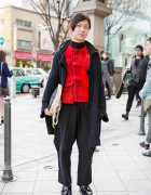 Red & Black Comme des Garcons, Limi Feu, Nir, Toga Pulla & Maison Martin Margiela in Harajuku