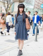 Harajuku Girl in Gingham Dress, Axes Femme Bag & Bow Shoes
