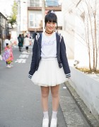 "WEGO ""Sailor Dolls"" Jacket w/ Winged Backpack, Tulle Skirt & Heeled Loafers in Harajuku"