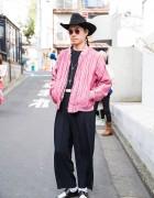 Punk Cake Harajuku's Kinji in Cowboy Hat, Pink Bomber Jacket & Wide Leg Pants