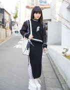 M.Y.O.B NYC Mesh Sweatshirt & Maxi Skirt w/ MCM Bag & Platforms in Harajuku