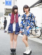 Harajuku Girls w/ Dip Dye, Mickey Mouse, Stadium Jacket & Platforms