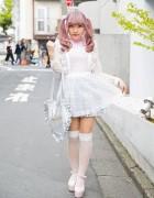Lilac Twin Tails, KOKOkim Sheer Apron, Katie Heart Bag & Bubbles in Harajuku