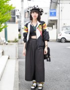 Wide Leg Pants, Murua Crop Top & Platform Sandals in Harajuku