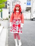 Harajuku Girl in Nincompoop Capacity Dress, Sou Sou Tabi Boots & Randoseru