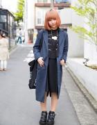 Harajuku Girl w/ Trench Coat, Egg Necklace, Yosuke Platform Heels & Jouetie