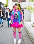 Rainbow Hair w/ Spank!, Listen Flavor, Cinnamoroll & Swankiss Platforms in Harajuku
