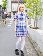 Harajuku Girl in Candy Stripper Plaid Dress, Over-The-Knee Socks & Ribbon-Laced Platforms