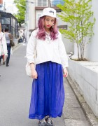 Lilac-Haired Harajuku Girl in Flamingo Resale Fashion, Stussy Bucket Hat & New Balance