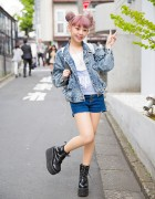 Taiwanese Model Kimi in Harajuku w/ Lilac Hair, Denim Jacket & Platforms