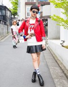 Harajuku Girl in Hellcatpunks & Glad News w/ Biker Jacket, Leather Skirt & Ankle Boots