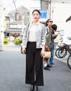 Harajuku Girl in Wide Leg Pants w/ Bucket Bag & Ankle Boots
