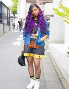 Harajuku Girl w/ Purple Hair, Pin Nap Fashion, Nike & Fishnets