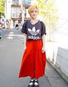 Harajuku Girl in Ne-Net Culottes, Adidas T-Shirt & Creepers
