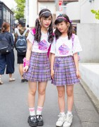 Peco Club Girls in Harajuku w/ Matching Bubbles Plaid Skirts