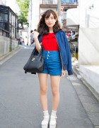 Harajuku Girl in High Waist Denim & Platform Sandals with Socks