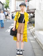 Short-Haired Harajuku Girl w/ Suspender Shorts, CA4LA Cap & Tokyo Bopper Shoes