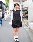 Harajuku Girl in Jouetie Pinafore, Bunkaya Zakkaten Wings Backpack & Vivienne Westwood