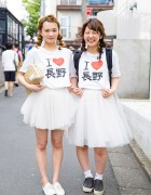 """I Love Nagano"" Pair Look Girls on the Street in Harajuku"