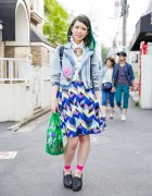 Harajuku Girl w/ Green Hair, Murua Denim Jacket, Kikka Skirt & Evangelion Bag