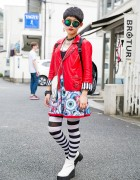 Harajuku Girl in Hellcatpunks Biker Jacket,Eyeball Dress & Studded Randoseru