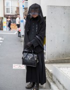 All Black Alice Auaa Fashion & Veil in Harajuku w/ Grace Continental Bag
