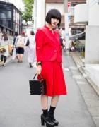 Harajuku Girl w/ Red Suit, Moussy Box Handbag, Mary Janes, & Bob Hairstyle