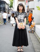 Black & White Spinns Harajuku Fashion w/ Lion Clutch, Skull Necklace & Sandals