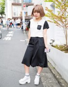 Harajuku Girl in Nadia Wide Leg Pants, Platform Sandals & Socks