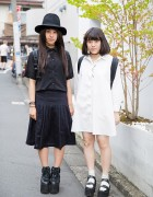 Harajuku Girls in Black & White w/ YRU Platforms, Tattoo Necklaces & Backpacks