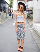 Harajuku Girl in Twin Braids w/ Crop Top, Graphic Skirt & Nike Cork Sneakers