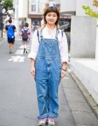Harajuku Girl in Twin Braids, Denim Overalls, Ralph Lauren & New Balance