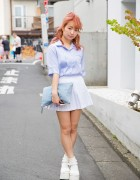Pink Hair, LilLilly Top, Pleated Skirt & White Platform Sandals in Harajuku