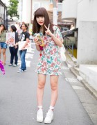 Harajuku Girl in Disney Ariel T-Shirt Dress, WEGO Backpack & Spinns Shoe