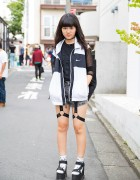 Harajuku Girl in Glad News Harness Shorts, Fig & Viper Top & Spinns Platform Sandals